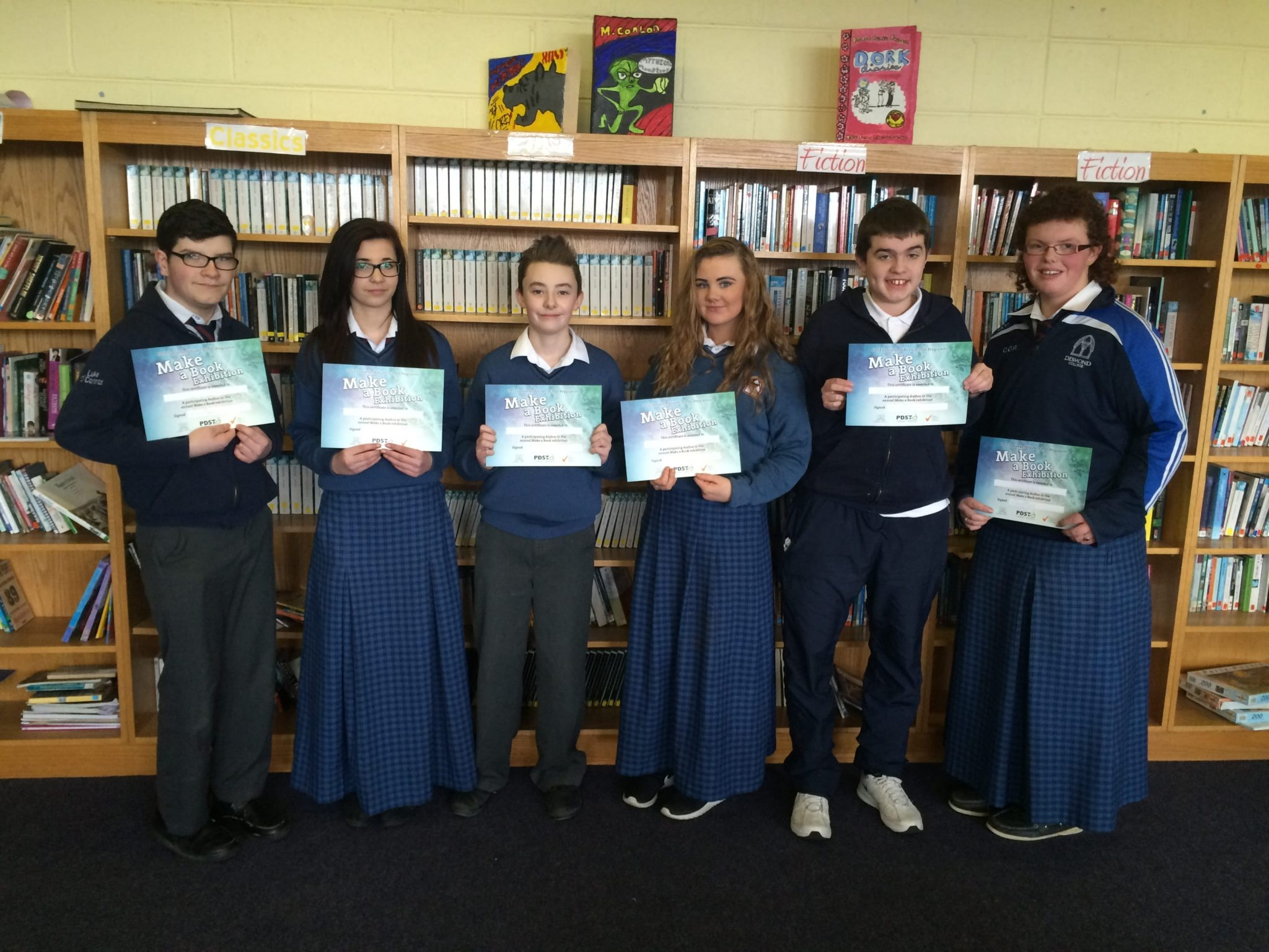 Feb 2016: The JCSP students of Desmond College display their certificates from the Make a Book Exhibition, which was held in Cork
