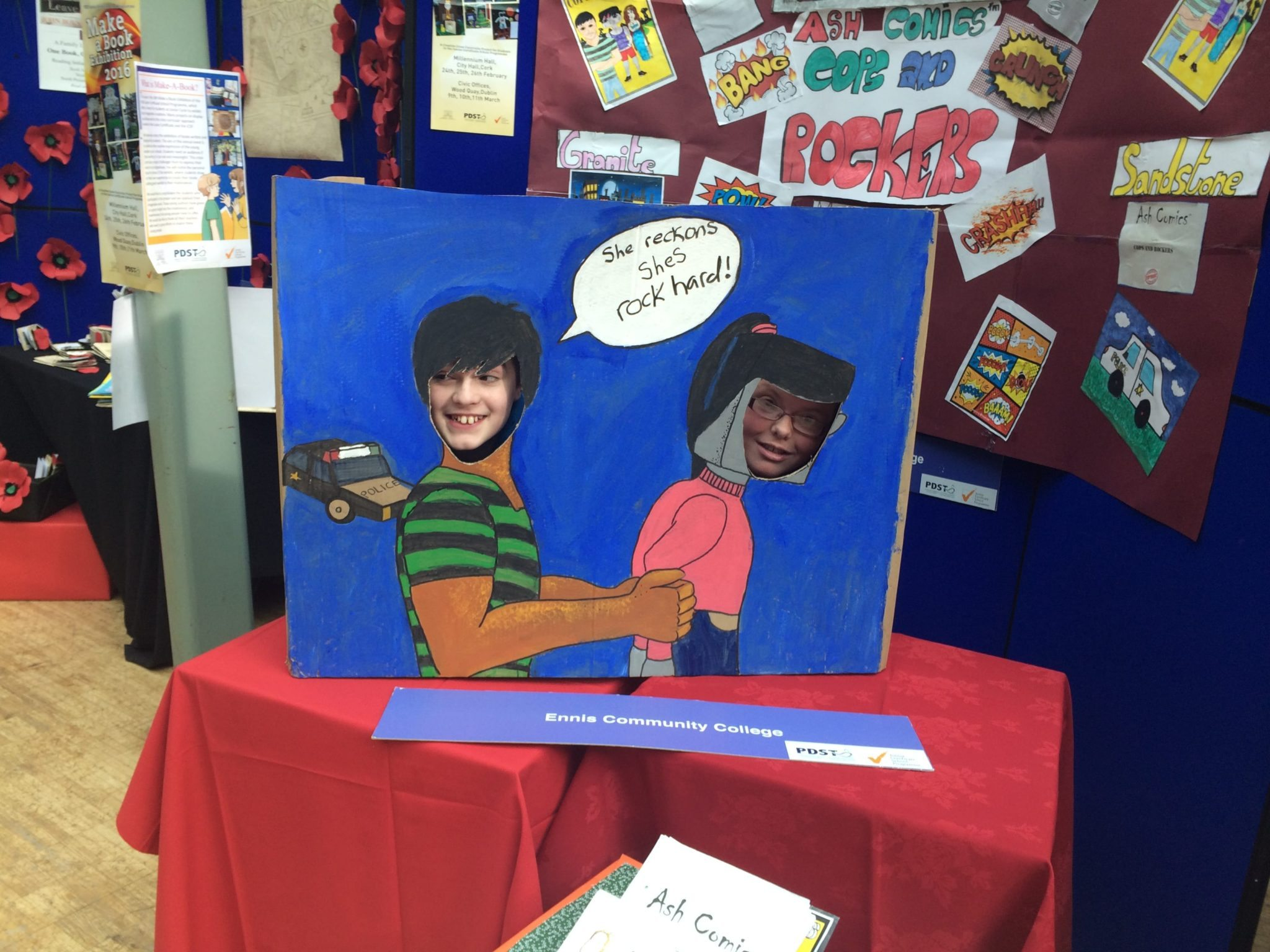 2016 Feb: Desmond College JCSP having fun at the Make a Book Exhibition, in Cork
