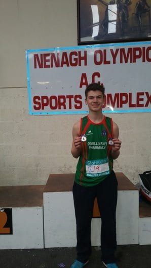 March 2016: Nathan Wright wins Bronze and Gold at the Munster Schools Indoor Athletics Championships