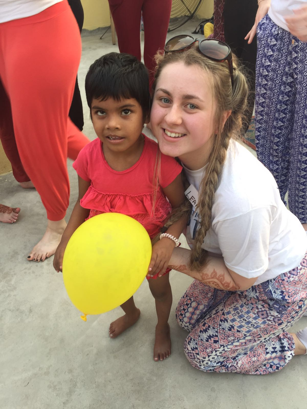 2016 April: Desmond College student with a new friend in Kolkata/Calcutta India