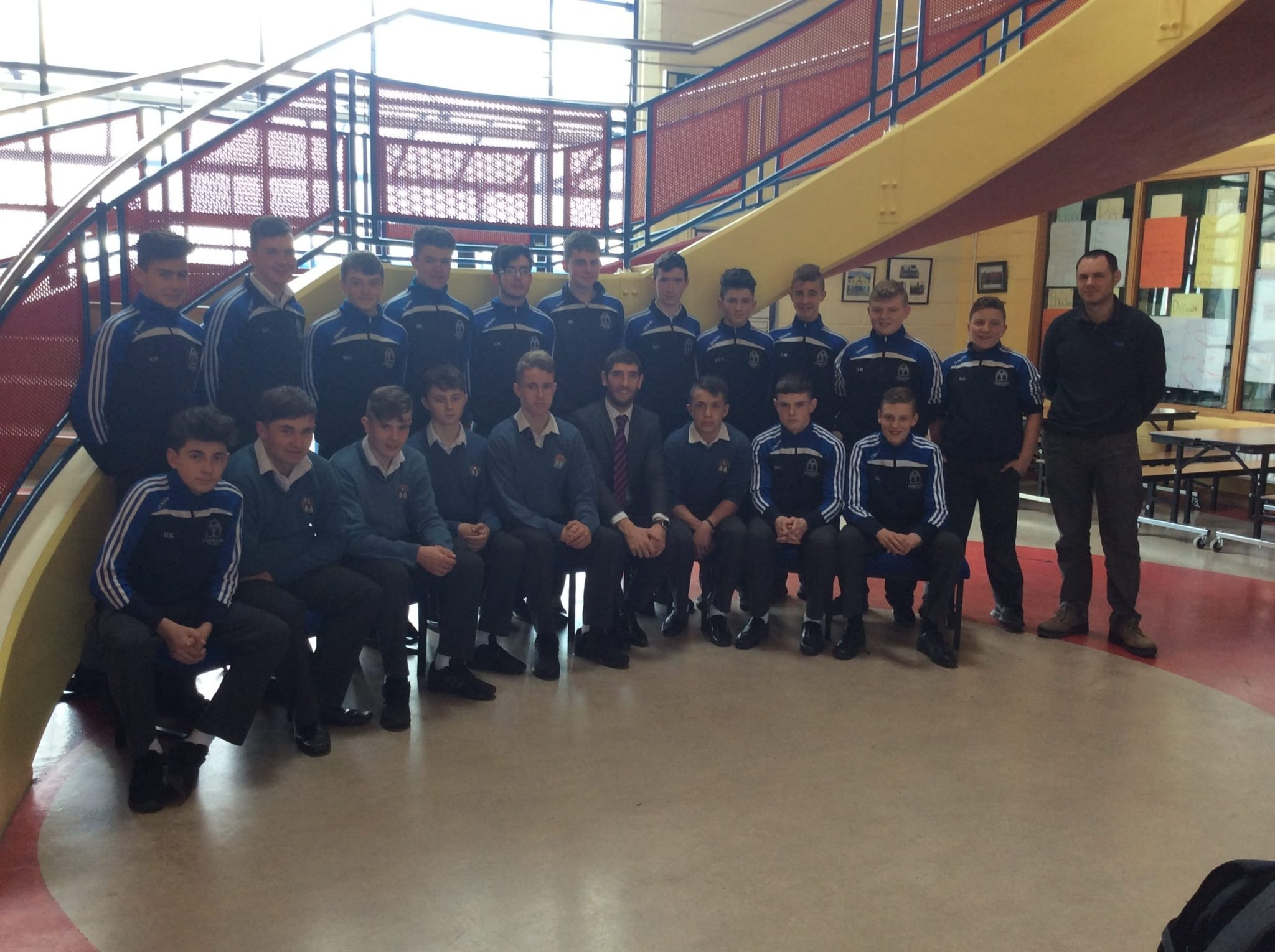 April 2016: Kerry Footballer, Killian Young, visits Desmond College