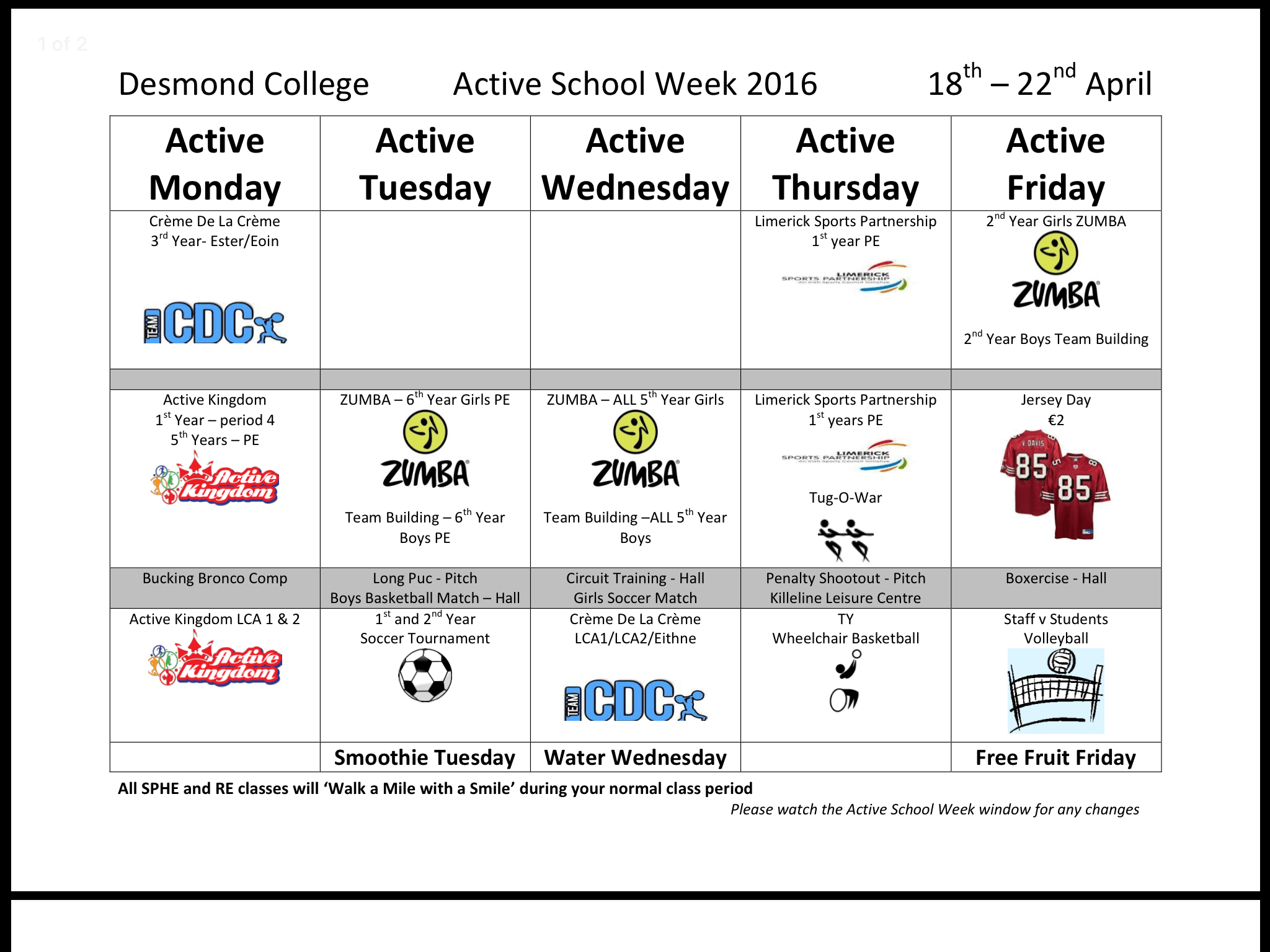 2016 April : desmond College active schools week from Monday 18th April to Friday 22nd April