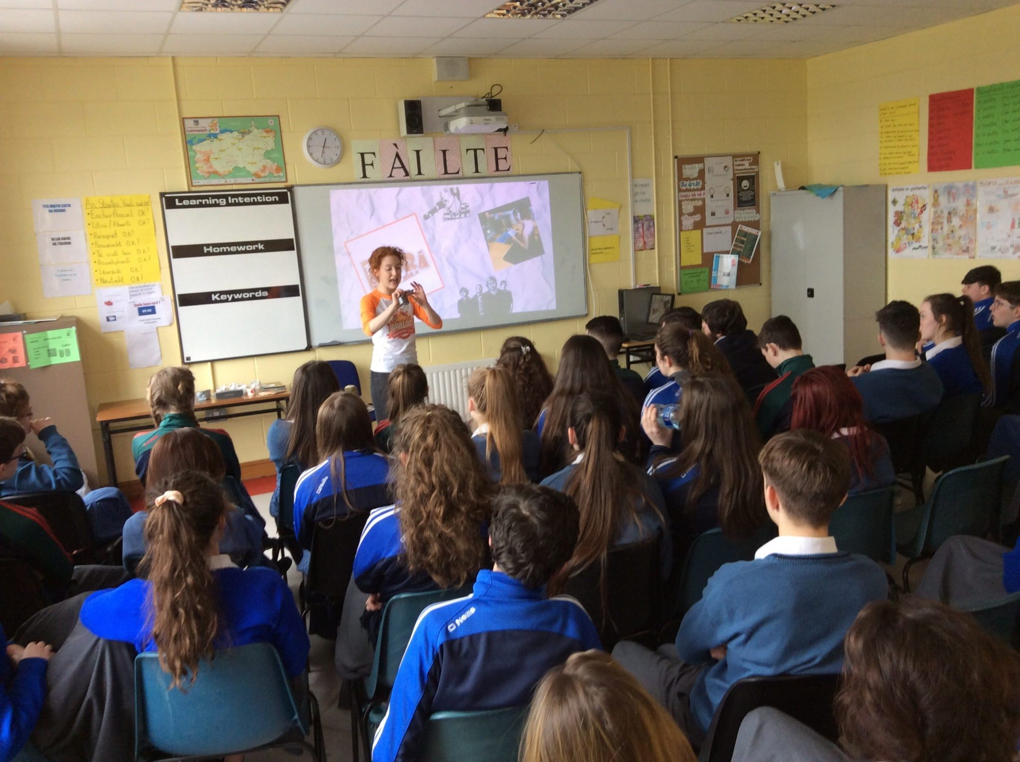 March 2016: Students from desmond college participating in seachtain na gaeilge irish language workshop