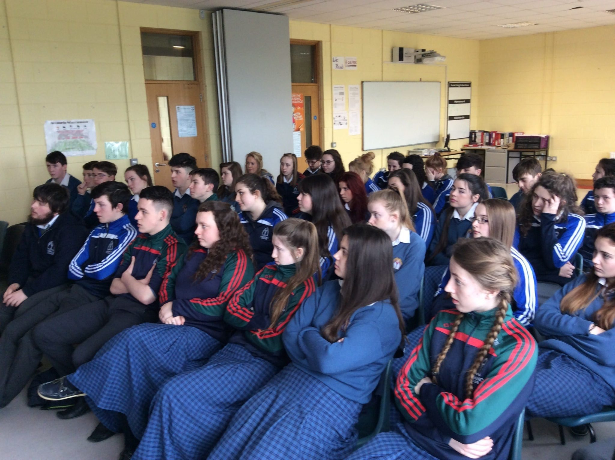 March 2016: Fifth years enjoying the Irish language workshop during Seachtain na Gaeilge