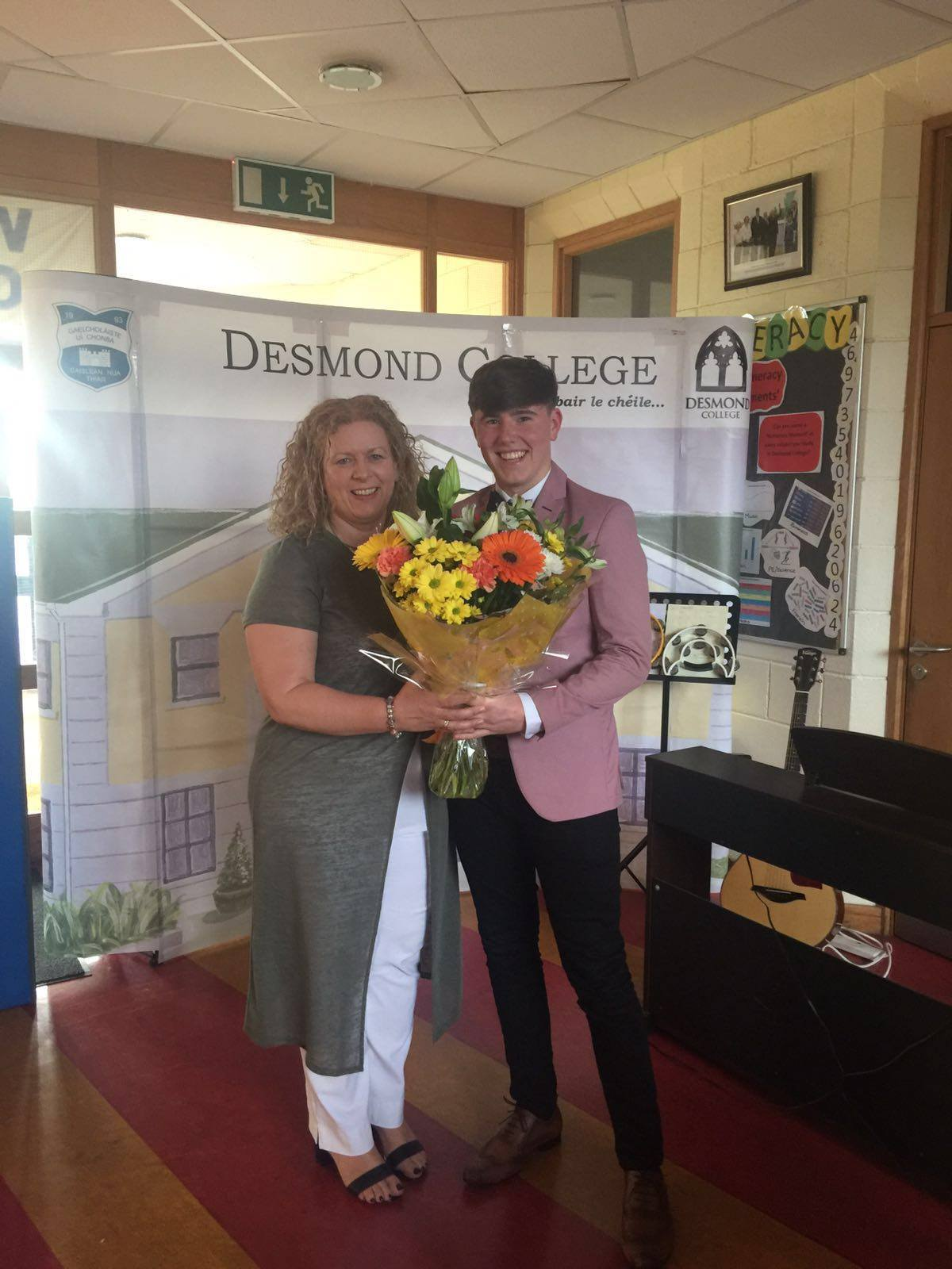 18th May 2016: Principal Vourneen Gavin Barry receives flowers from the Transition Year students of 2015-2016
