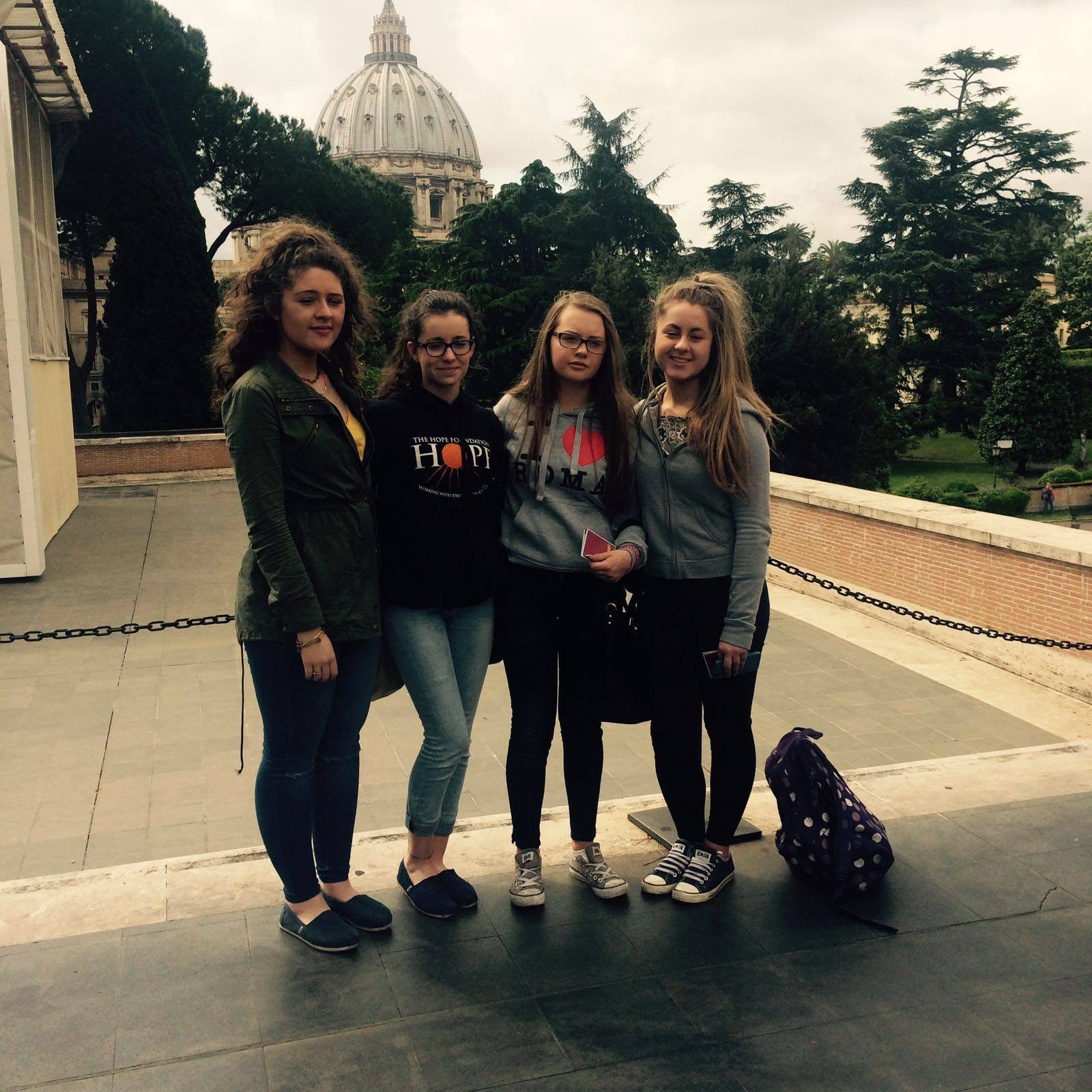 April 2016: Desmond College TYs visiting the Vatican, the Trevi Fountain, the Spanish Steps, and the Colosseum in Rome