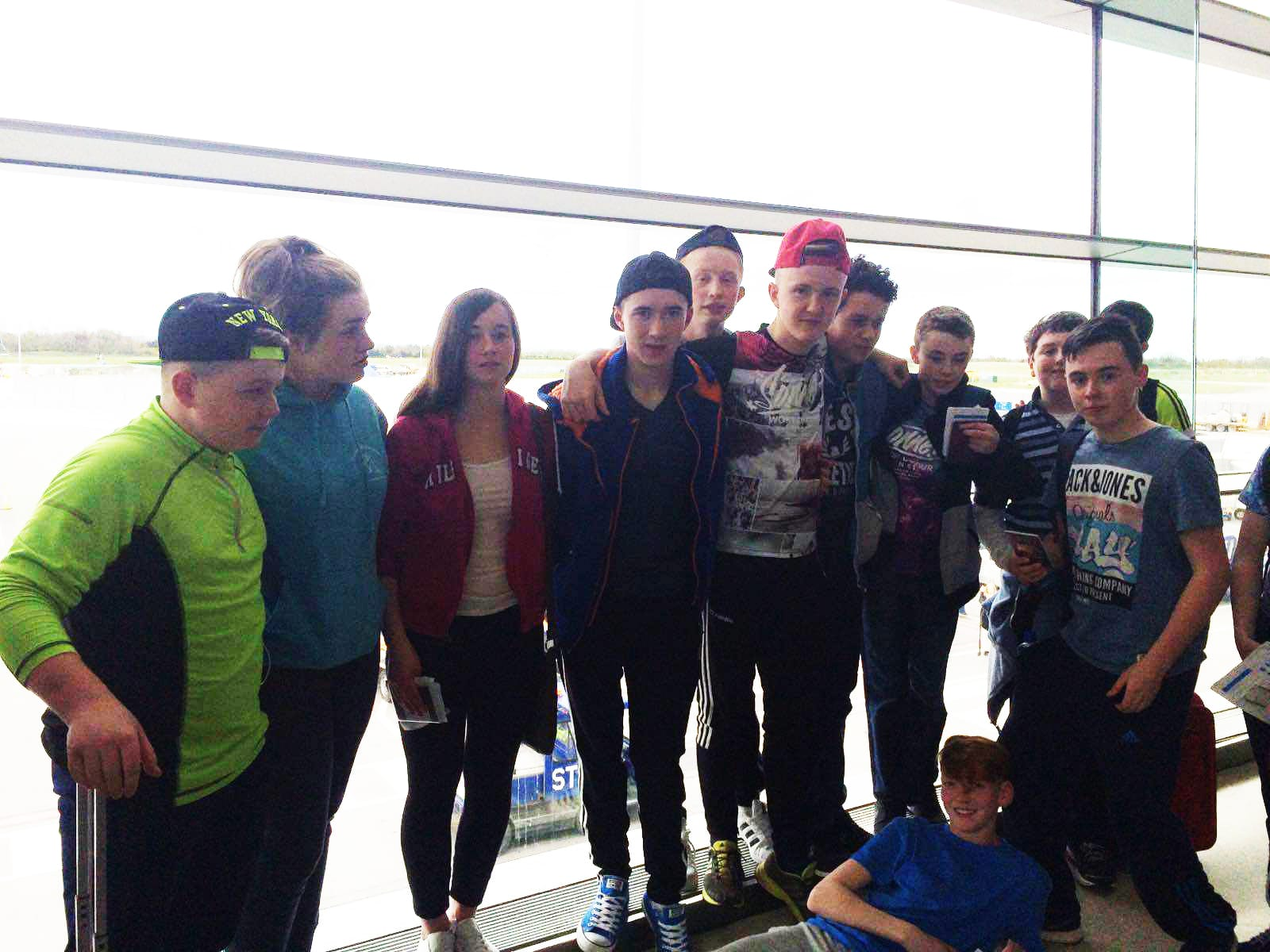 April 2016: Desmond College 2nd Year Students at the airport waiting to go on the flight to Barcelona for their School Tour