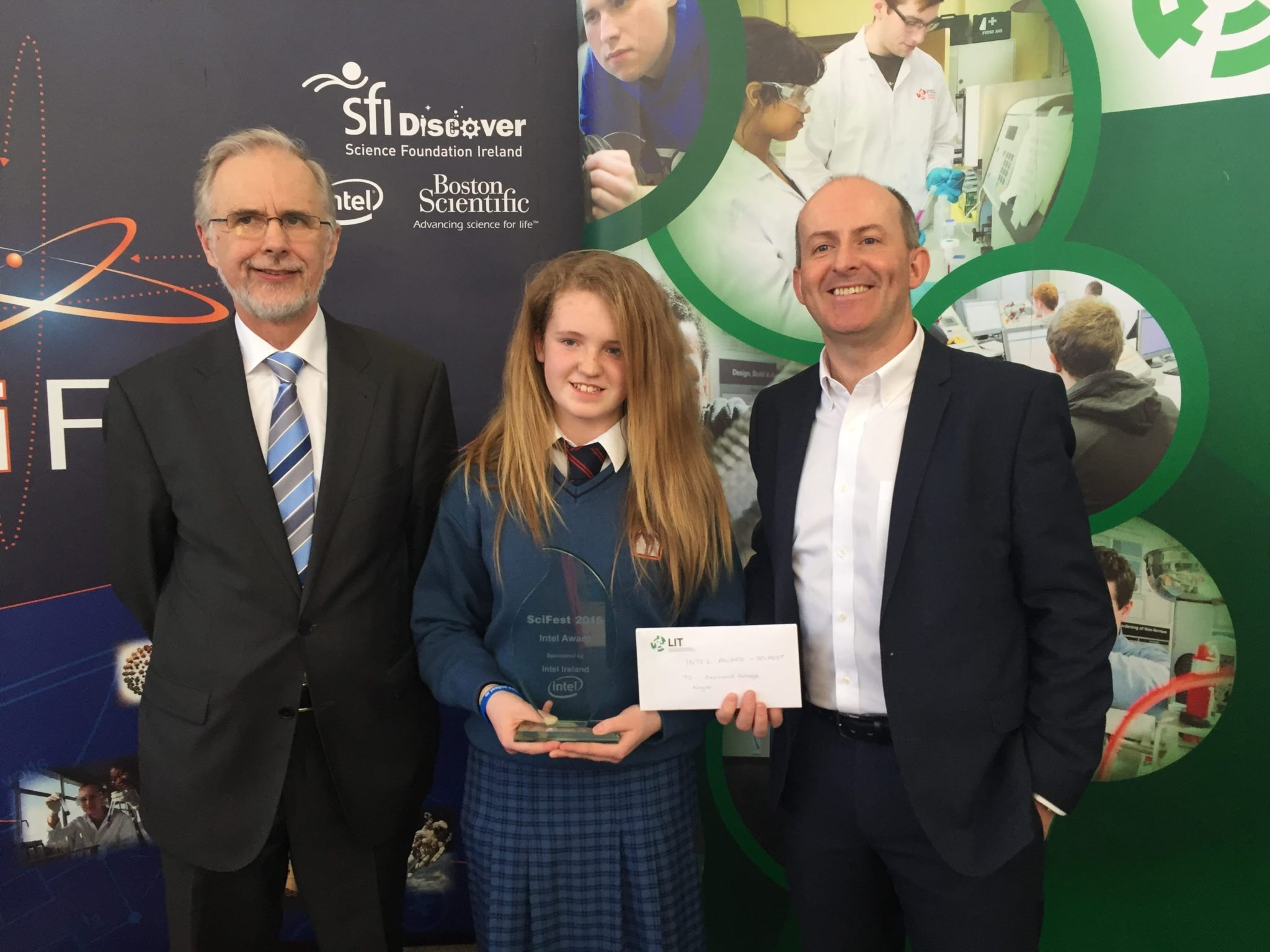 May 2016: First Year Students Kayla McMahon representing Desmond College in LIT at the 2016 SciFest competition won 2nd overall in Technology and she also won the Intel award.