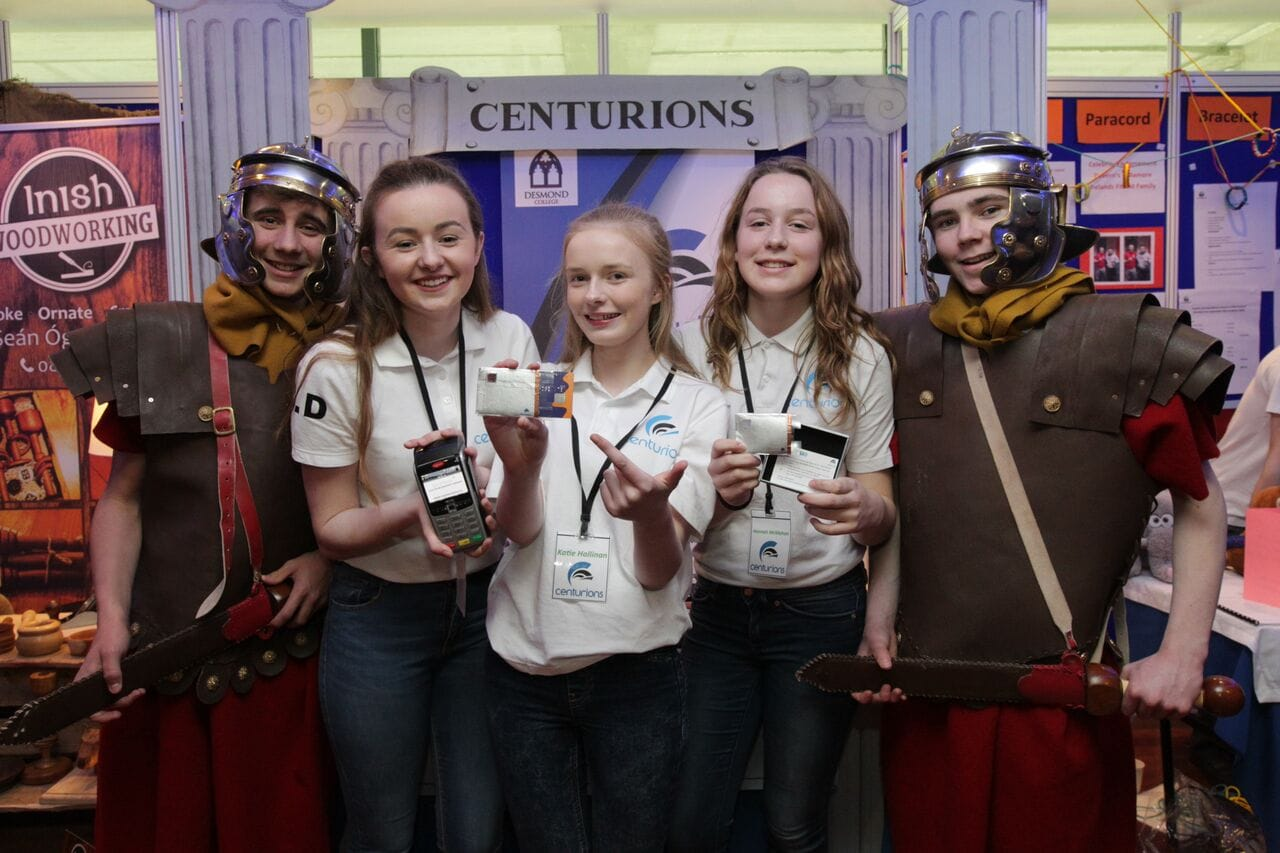"""April 2016: Desmond College students, """"Centurions"""", a student enterprise company, was awarded the Best Display Award at the All Ireland Finals of the Student Enterprise Awards"""