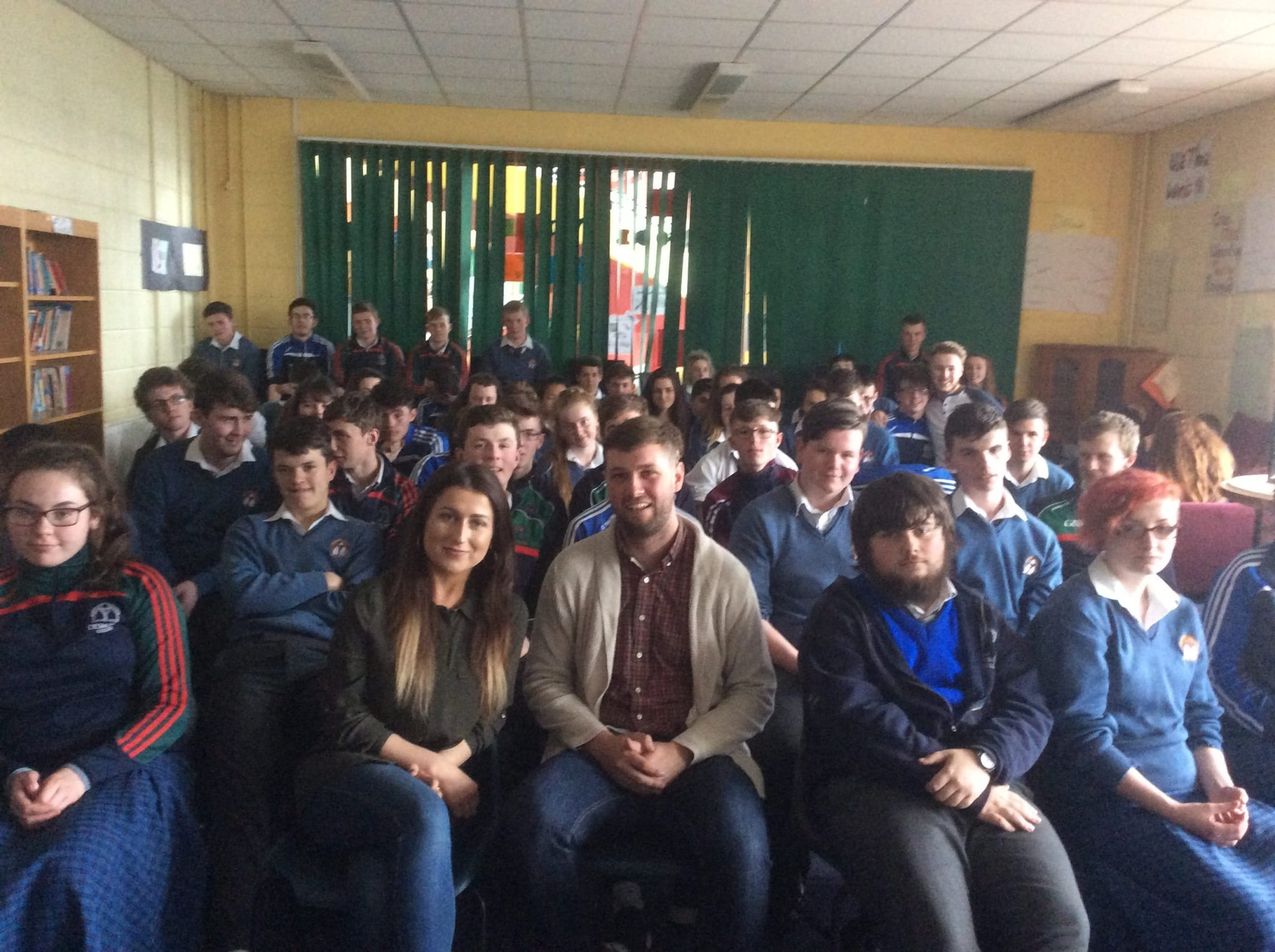 25th May 2016: Desmond College 5th year students listening to a talk about mental health from  Caolan (UL student welfare officer) and Claire.