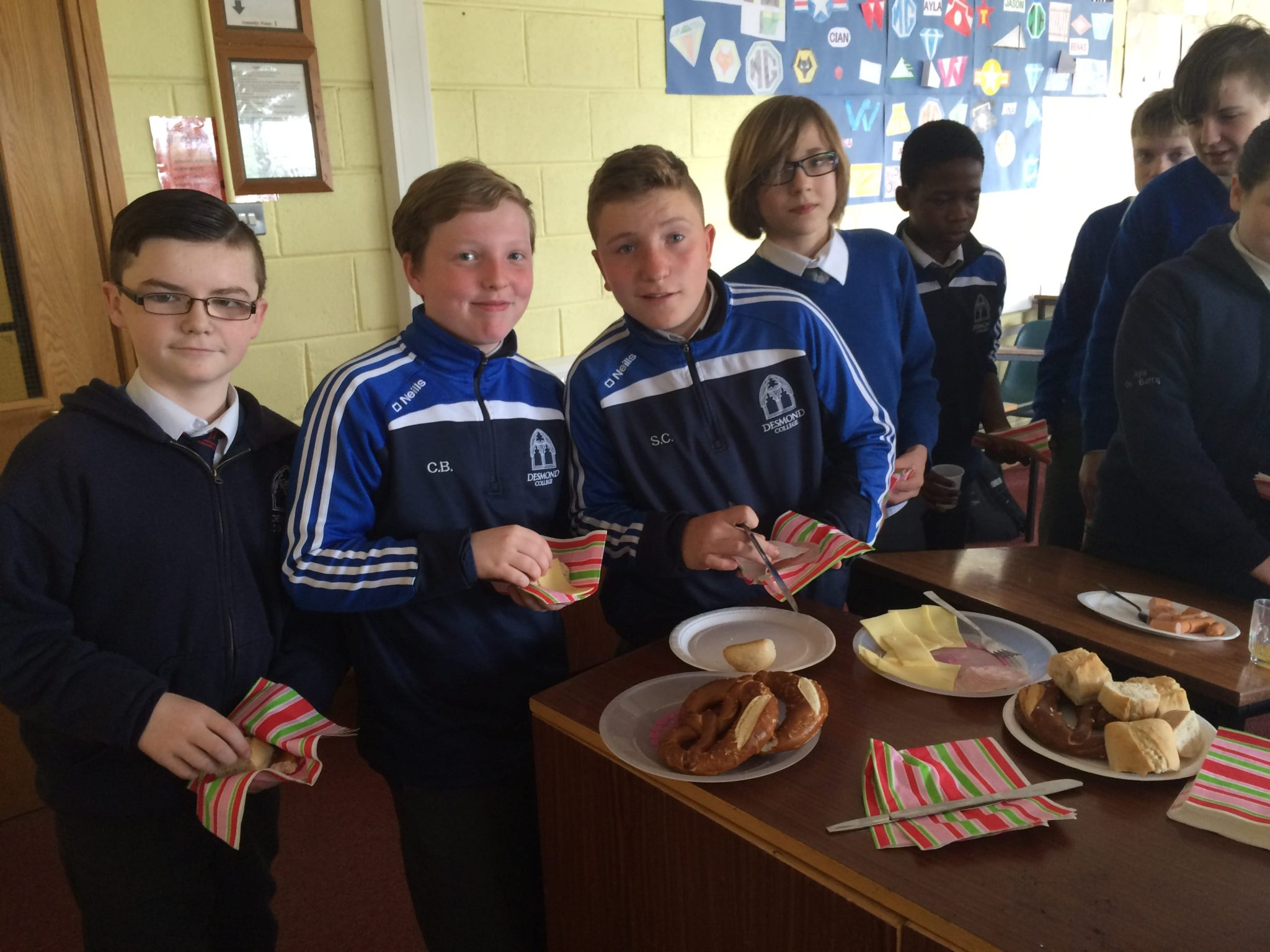May 2016: Desmond College First year students enjoying a German breakfast as part of their German studies in Desmond College