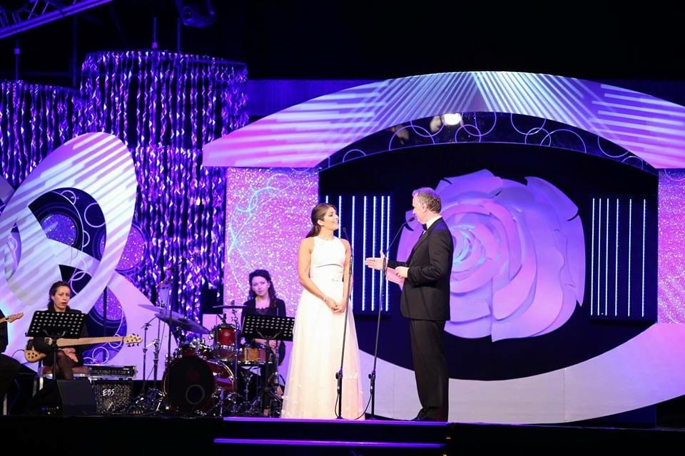 Marie Hennessy, The Limerick Rose, on stage in the Dome at the Rose of Tralee Festival 2016
