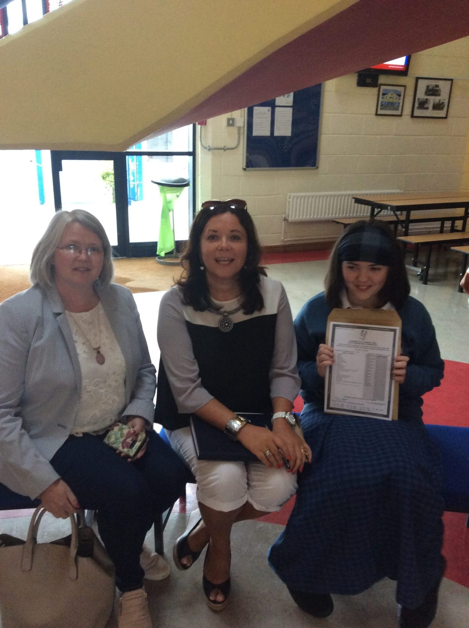 September 2016: A delighted Elizabeth Cremin share her results with her mum and Teacher Ms O Connor at Desmond College Newcastle West