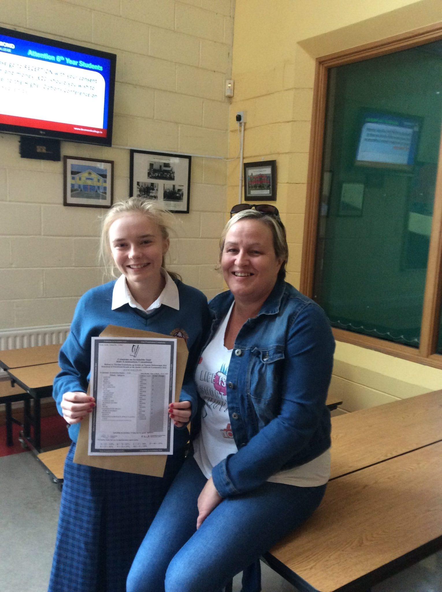 2016 Sept: Desmond College student Katie Hallinan with here Mum after receiving excellent results