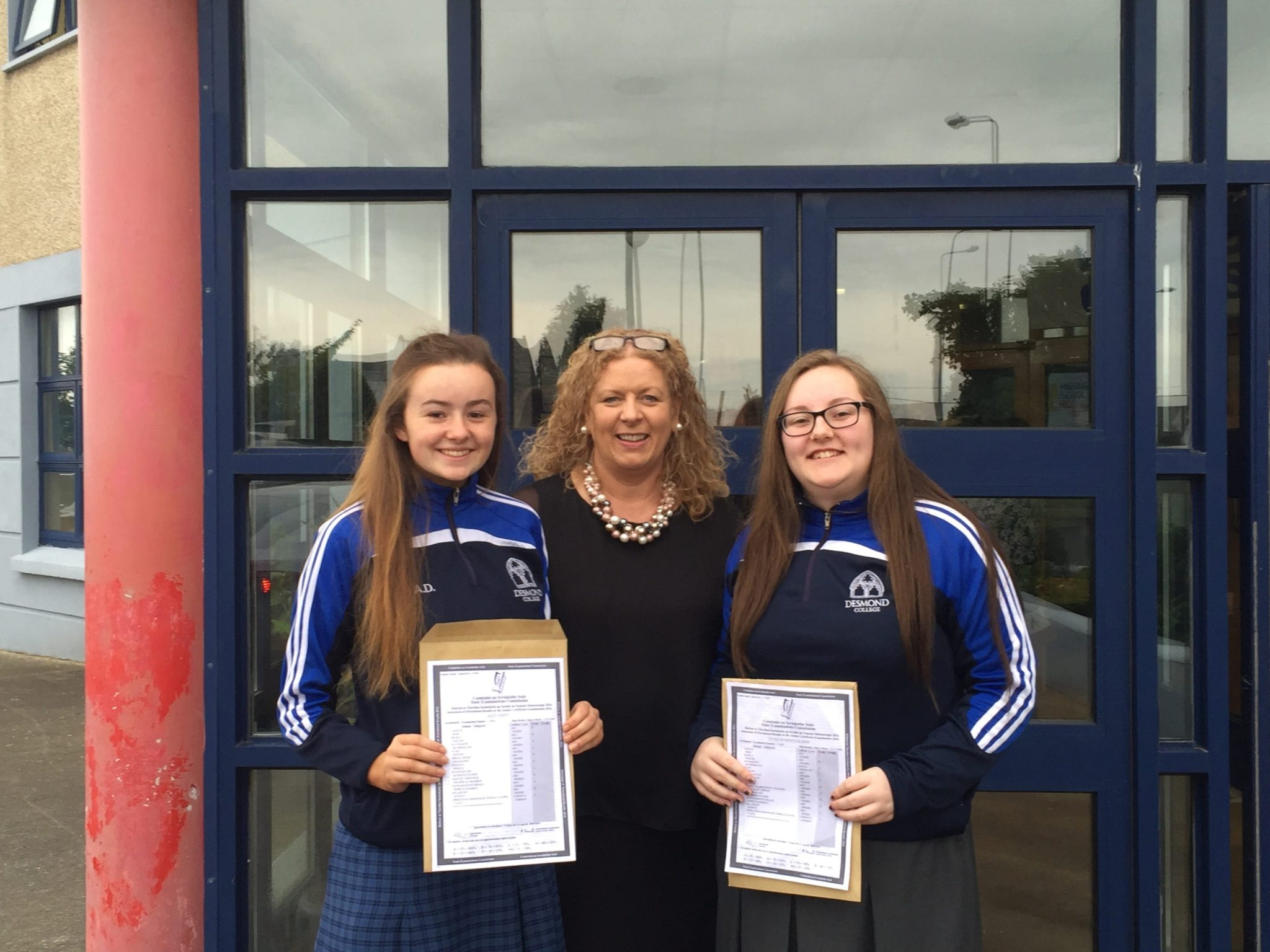 September 2016: Alice Duffy and Leona Ni Mhaolalaidh pictured with very proud Principal of Desmond College Post Primary School Vourneen Gavin Barry
