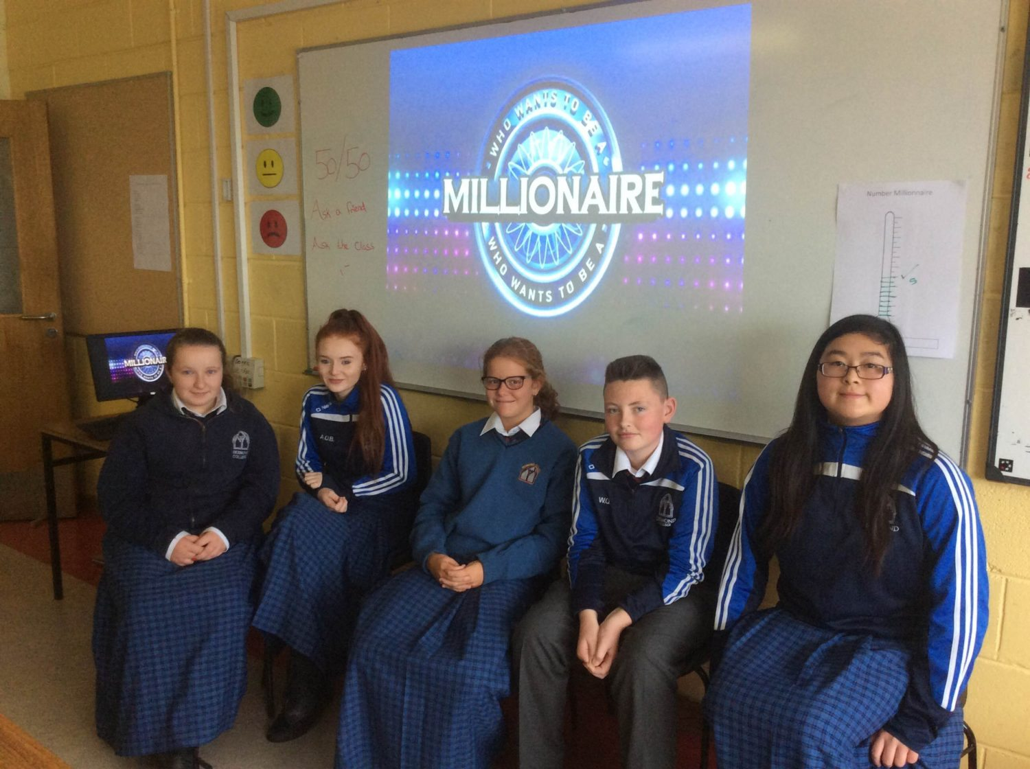 September 2016: Desmond College Second Year Students play Millionaire to help practice their numeracy skills