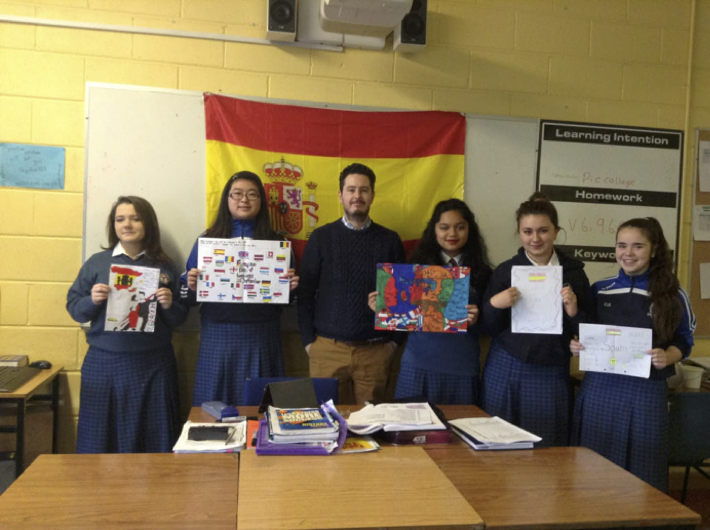 2016: Mr Russell (Spanish Teacher in Desmond College Post Primary School) with his Second Year Spanish Students after completing their posters