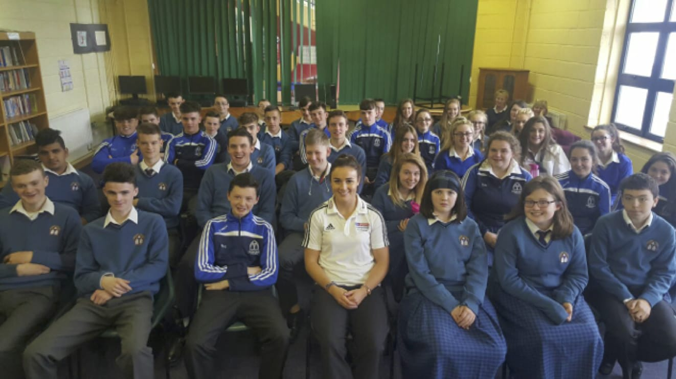 Oct 2016: The Sky Sports Ambassador, and Irish Rugby 7's player, Louise Galvin, with Desmond College Post Primary 5th Year Students