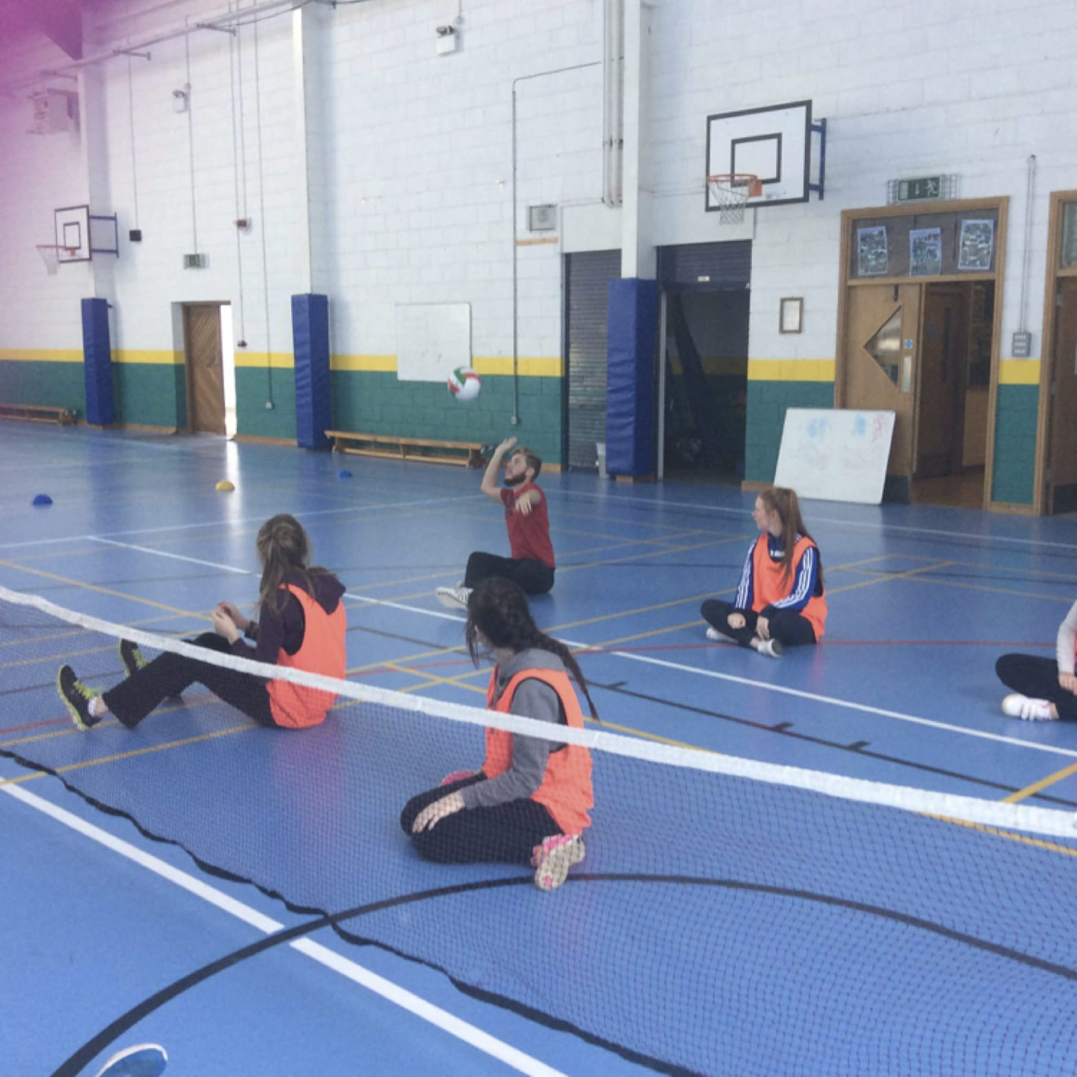 Oct 2016: Desmond College Post Primary School Newcastle West Students Practice some Sitting Volleyball during their Physical Education class