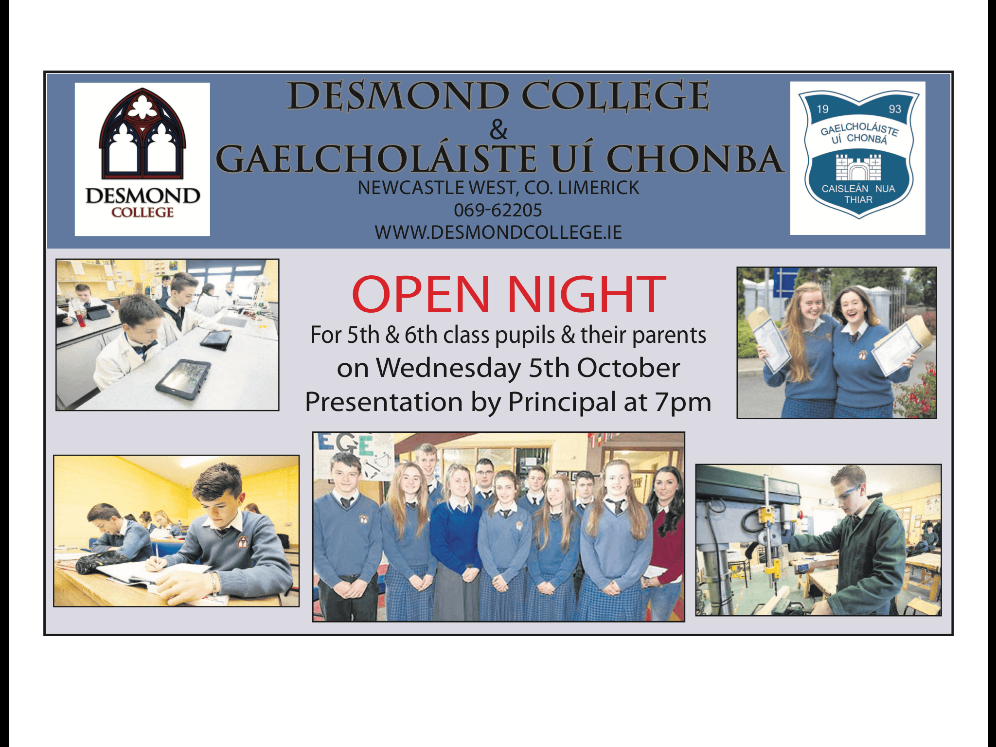 Open Night for 5th and 6th class pupils and their parents on Wednesday 5th October presentation by principal at 7pm