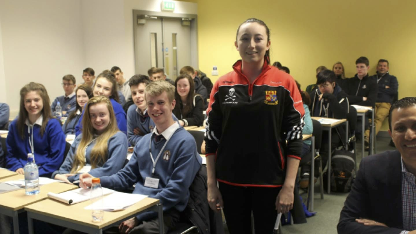 Nov 2016: Desmond College Post Primary School Students Newcastle West Limerick with Ciara Judge, Winner of the Google World Science Fair, at UCC