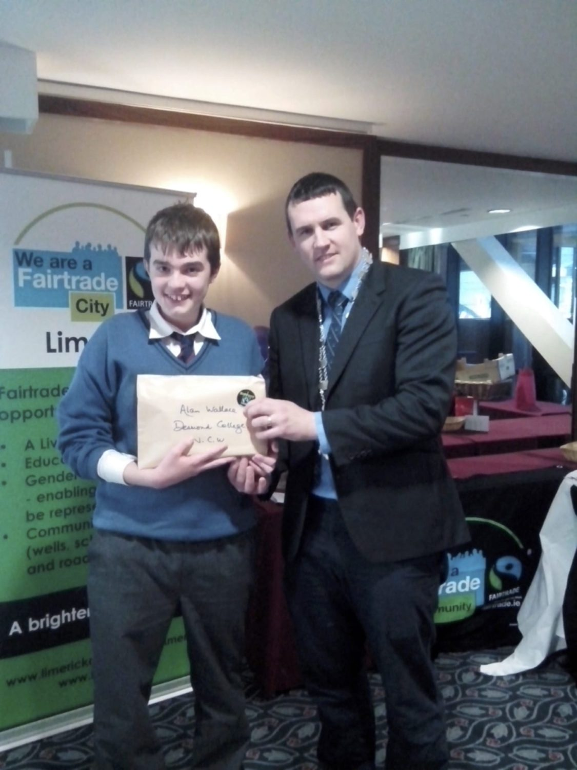 Nov 2016: Desmond College Student at the Fairtrade Christmas Card Art Competition Presentation Function in Limerick with Cllr. Frankie Daly