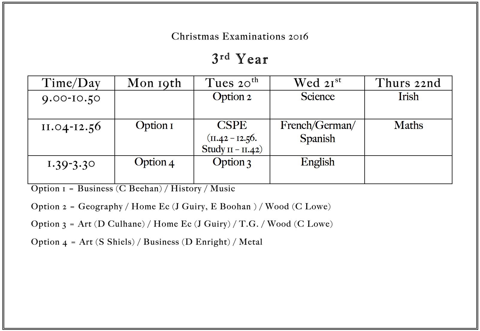 Dec 2016: Christmas Exam Time Table for 3rd Year Students