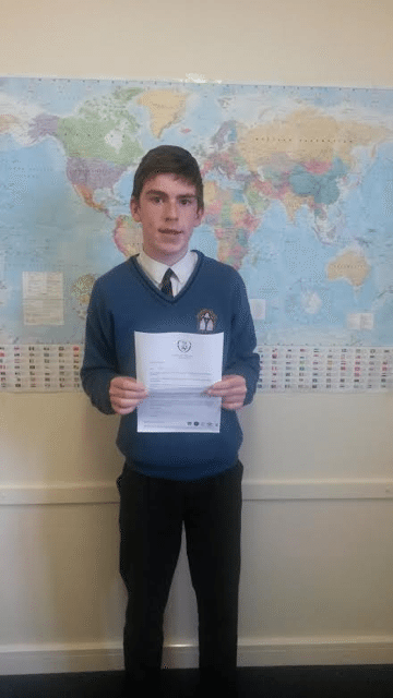 Dec 2016: Desmond College Post Primary School student selected for the Munster football for all clubs squad