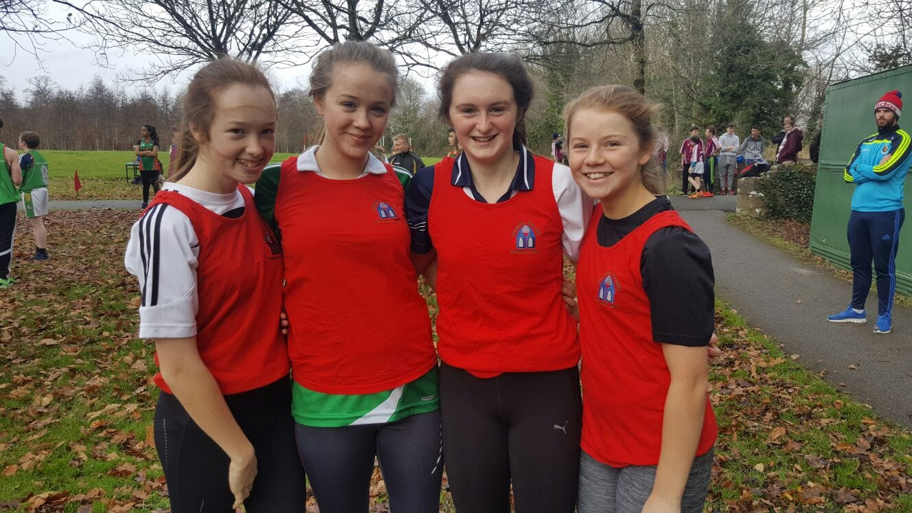 Dec 2016: Emma Brennan, Ellie Bucke, Iris Kenneally and Aoife Lee at the LCETB Cross Country Running Competition