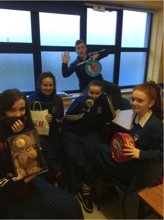 Dec 2016: Students from Desmond College Post Primary School delighted with their Secret Santa Presents.