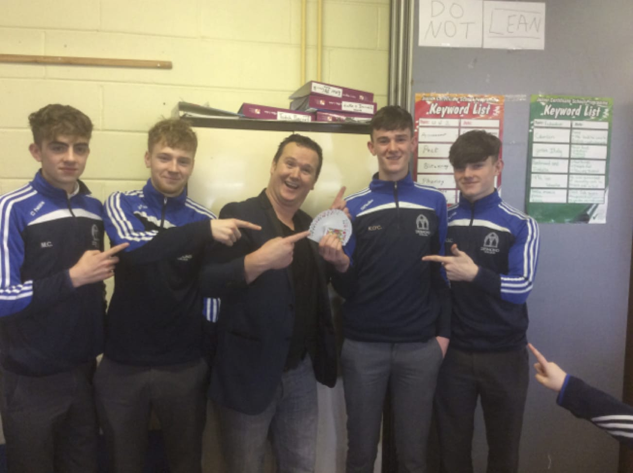 Jan 2017: Michéal Collins, Sean Walton, Kealon O Connor and Dylan O'Connell with Mathemagician Leon Anderson during Numeracy Week at Desmond College Post Primary School NewcastleWest