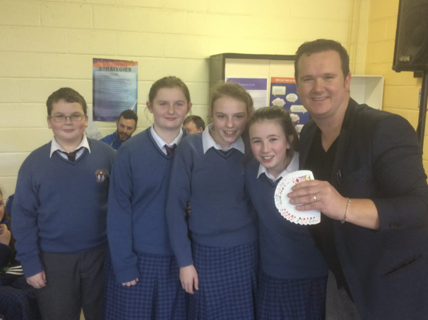 January 2017: Luke O Sullivan, Sarah Barrett, Nikita  Lysaght, and Deirdre McMahon with Mathemagician Leon Anderson during Numeracy Week at Desmond College