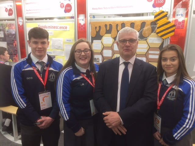 Jan 2017: Michel Murphy, Leona Mulally and Rhea Crowley pictured with the UK Ambassador for Ireland at the BT Young Scientist and Technology Exhibition 2017