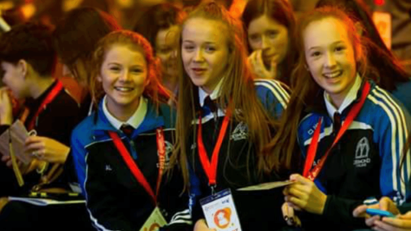 Jan 2017: Aoife Lee, Ellie Bucke and Emma Brennan at the Opening Ceremony  at the BT Young Scientist and Technology Exhibition 2017