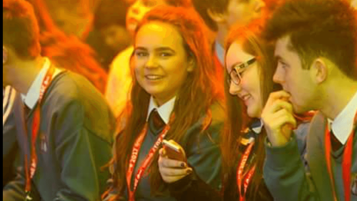 Jan 2017: Amy O'Shea, Leona Mulally and Diarmuid Curtin pictured at the Opening Ceremony at the BT Young Scientist and Technology Exhibition 2017