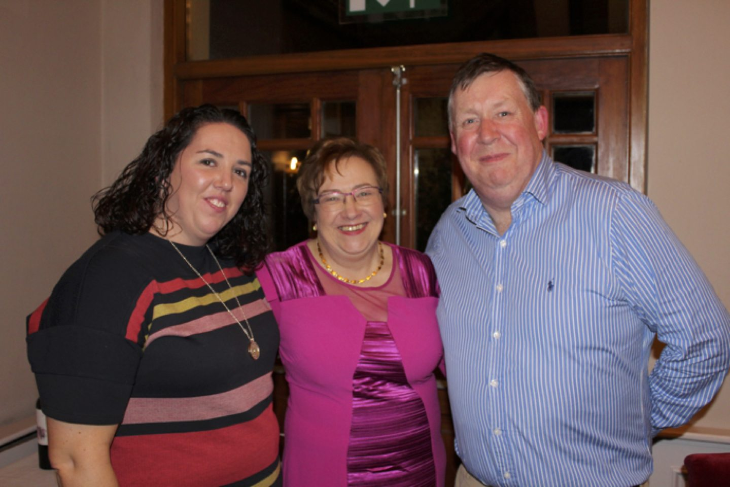 Feb 2017: Carol Liston and Donal Enright pictured with Carmel Harnett at her Retiremnt Party which took place in the Devon Inn