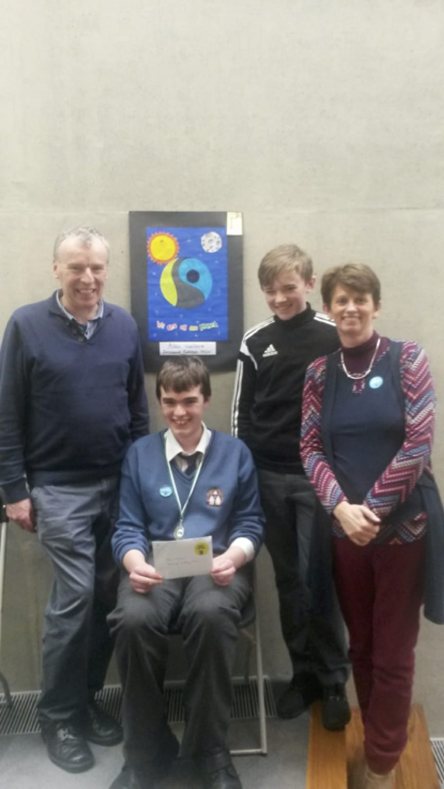March 2017: Alan Wallace pictured with his family after receiving his award from the Mayor of Limerick after winning in the Fair-Trade Poster Competition.