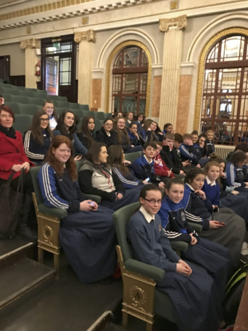 March 2017: Ms McCarthy with a number of music students in Desmond College Cork Pops Orchestra 2017 series, conducted by Evelyn Grant.