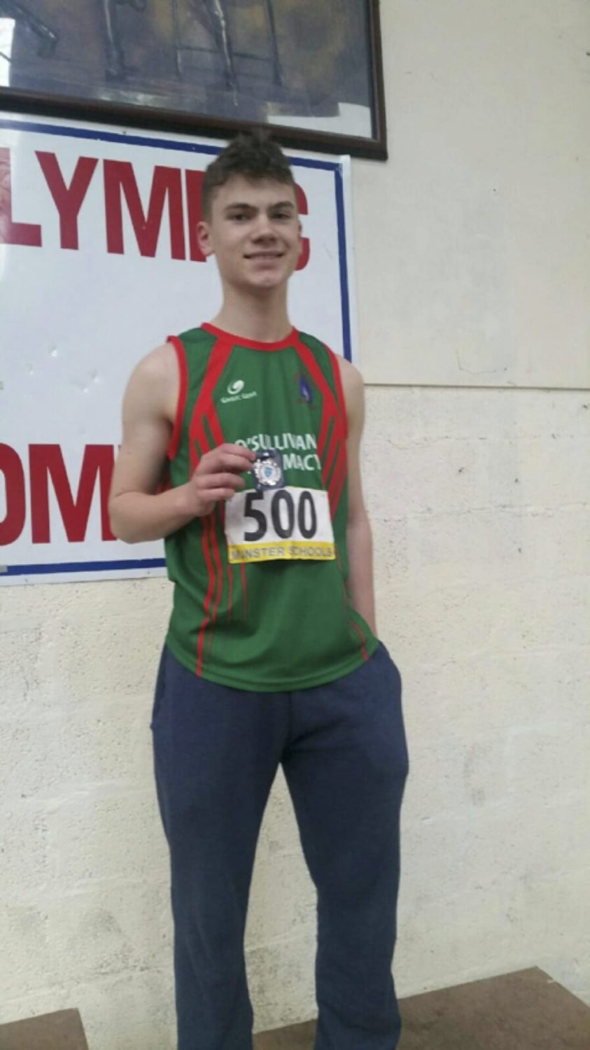 March 2017: Desmond College 2nd year student, Nathan Wright, won silver in the North Munster Indoor Championship Long Jump, setting a personal best of 5.52 meters