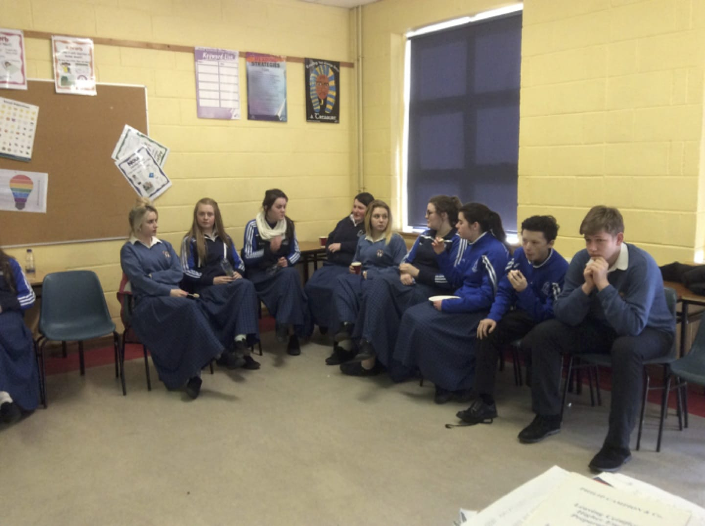 March 2017: Desmond College 5th year students ag caint gaeilge during Desmond College's annual seachtain na gaeilge