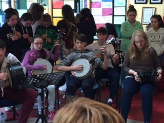 17th March 2017: Desmond College Students and Teach Ms Beehan during the Lunch Time Traditional Irish Music Session
