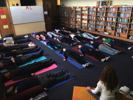 April 2017: Students in Desmond College Secondary School Limerick, enjoying Yoga as part of National Wellbeing Day