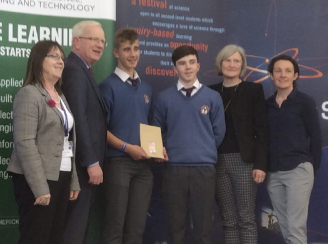 27th April 2017: Desmond College post primary school limerick students receiving awards for their projects at SciFest 2017