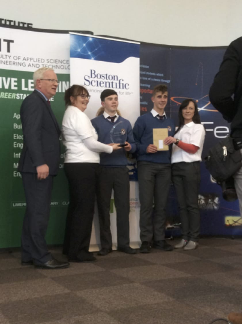 27th April 2017: Desmond College Post Primary School Students receiving the Boston Scientific Award at SciFest 2017