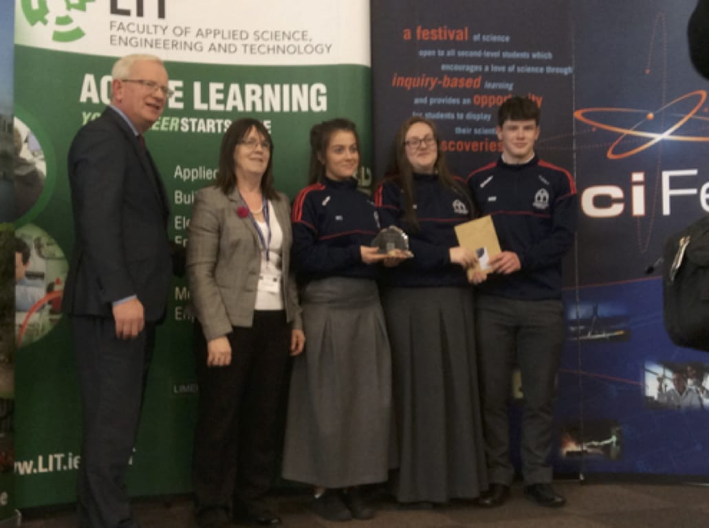 27th April 2017: Maths in Science Award going to Limerick Post Primary School Students from Desmond College at SciFest2017