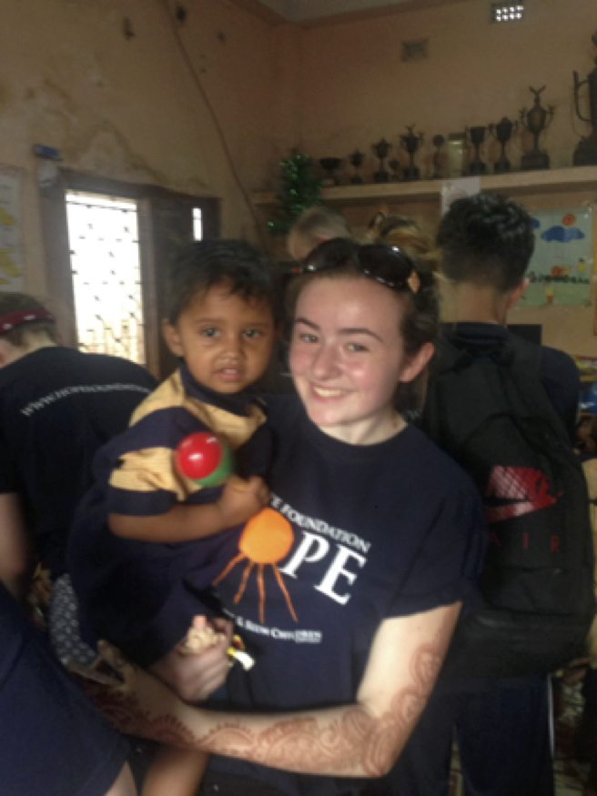 April 2017: Alice Duffy volunteering with the Hope Foundation in Kolkata