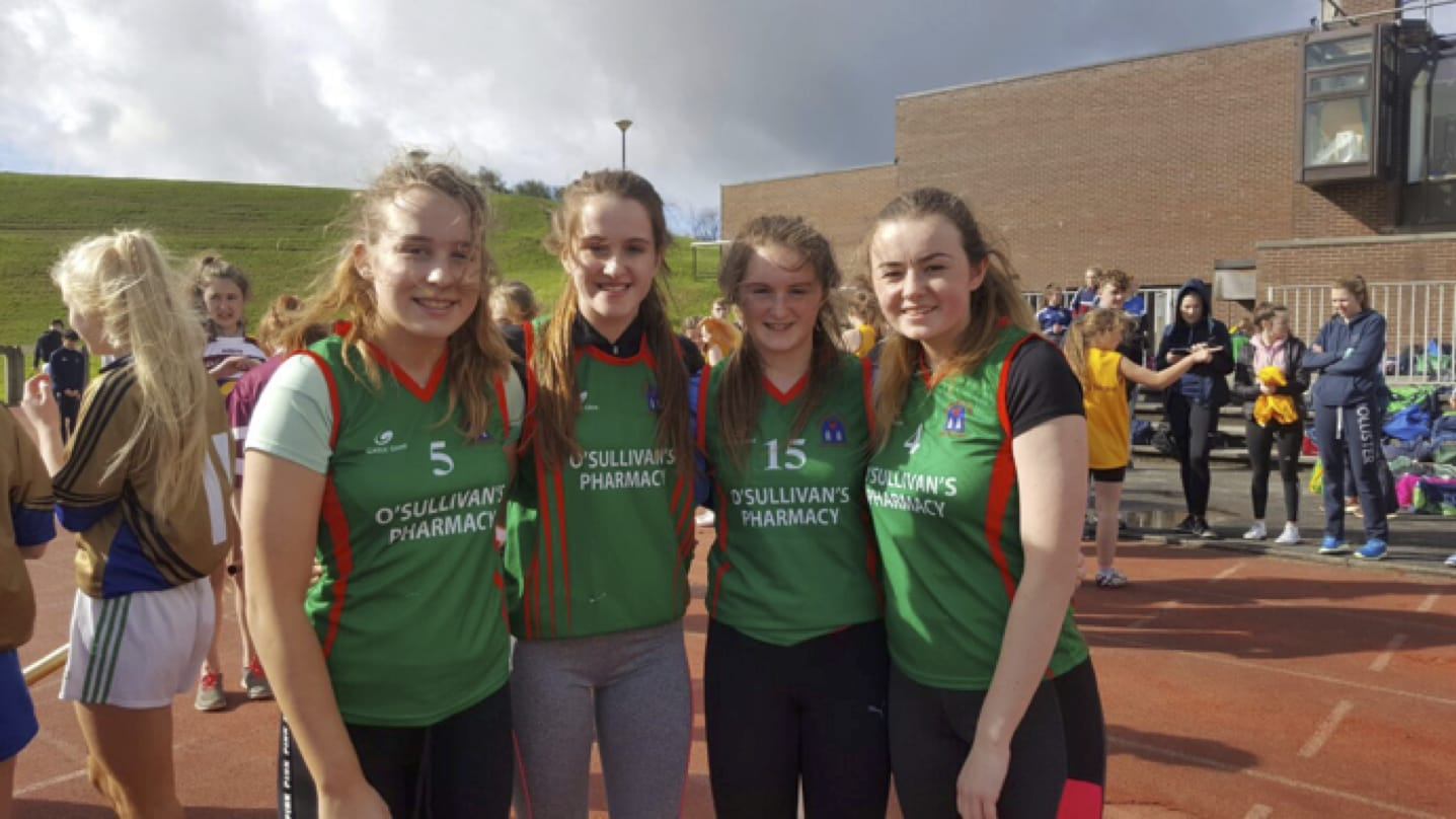 Hannah McMahon, Roz Barrett, Iris Kennealy and Alice Duffy participating in the LCETB Sports Day held in the University of Limerick.
