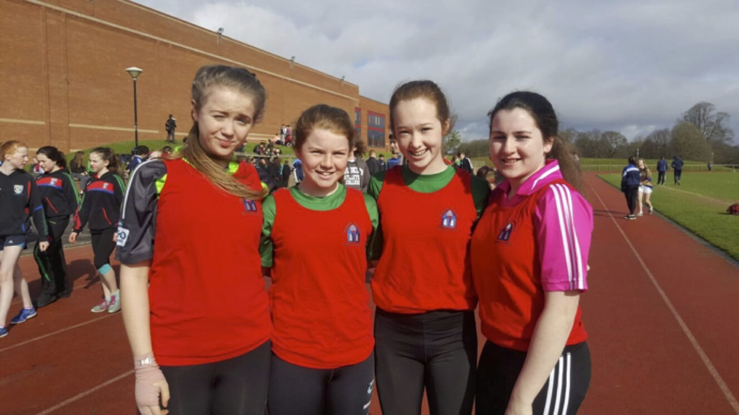 Ellie Bucke, Aoife Lee, Emma Brennan and Ciara O'Connor participating in the LCETB Sports Day held in the University of Limerick.