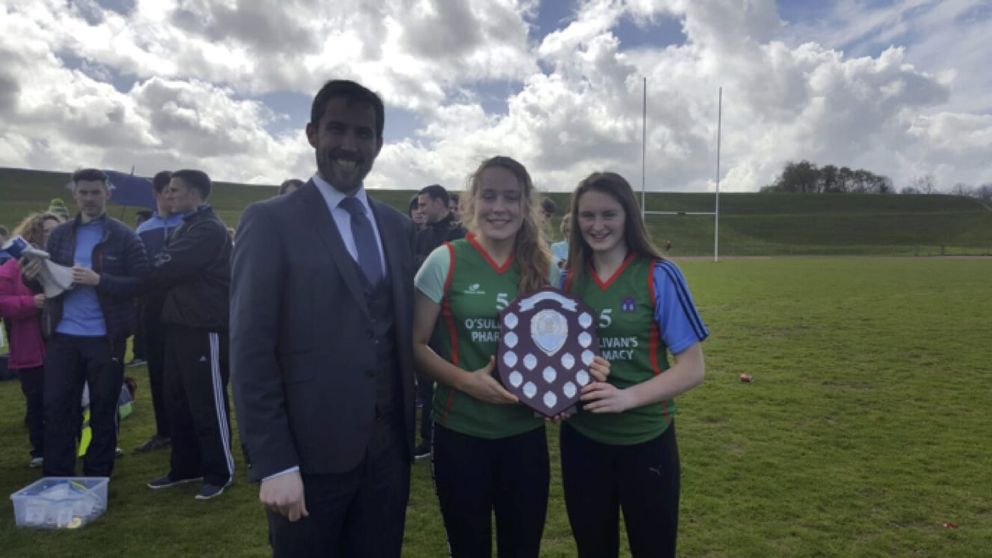 Hannah McMahon and Iris Kenneally accepting the 2nd place shield at the LCETB Sports Day held in the University of Limerick.
