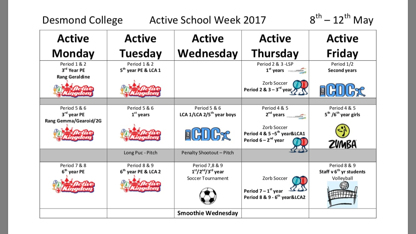 May 8th to 12th 2017: Desmond College Active Schools Week